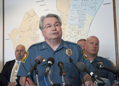 Prince Georges County Police Chief David Mitchell at the press conference. (Photo by Maryland Newsline's Tami Le)